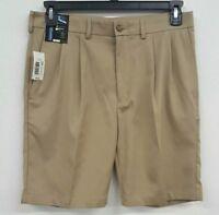 Roundtree & Yorke Performance DK Khaki Pleated Men's Shorts NWT $40 Choose Size