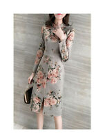 Floral Long Sleeve sundress Long Evening Party V Neck Maxi Women Fashion Dress