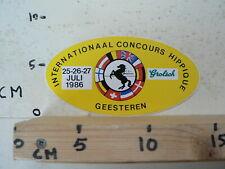 STICKER,DECAL C.S.I. GEESTEREN INT. CONCOURS HIPPIQUE 1986 GROLSCH HORSE PAARD