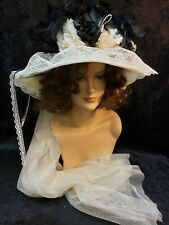 Ladies Hat Old West Victorian Edwardian style Elsie Massey Cream and Black