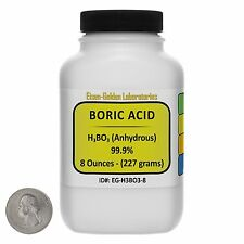 Boric Acid [H3BO3] 99.9% ACS Grade Powder 8 Oz in a Space-Saver Bottle USA
