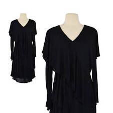 Vtg 1980s Dress 80s Holly's Harp Black Dress Boho Hippie Romantic Tiered Dress S