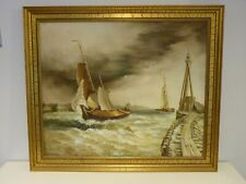 Original Oil on Canvas, SAFE HAVEN By Renowned Forger Eric Hebborn, Seascape