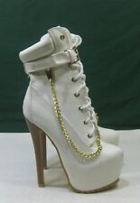 "new White 6.5""High Heel 2.5""Platform Sexy Ankle Boots  US Women Size 5"