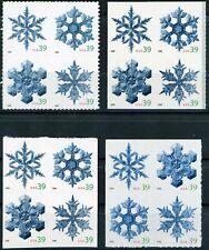 SNOWFLAKES Complete Set 4 MNH Blocks of 4 in Scott # Order Scott's 4101 to 4116