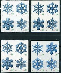SNOWFLAKES Complete Set 4 MNH Blocks of 4 in Scott # Order Scott's 4101 to 4116