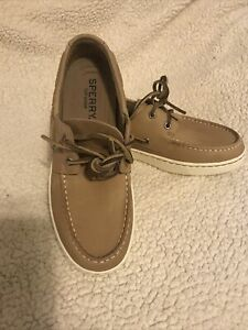 NEW MENS SPERRY TOPSIDER LEATHER  A/O PLUSHWAVE OATMEAL SIZE 8.5 M STS22197