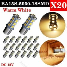20x Warm White 1156 18-SMD LED RV Camper Trailer Interior Light Bulbs 1073 1141