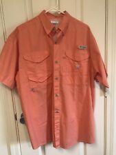 New listing Wms COLUMBIA PFG Coral S/Sleeve Fishing Hiking Button Up Shirt Top Sz Medium EUC