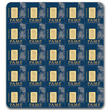 25 x 1 gram Pamp Suisse Gold Bar - Individual Assay Cards - SKU #80382