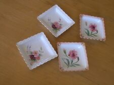 4 Antique Japan Scalloped Porcelain China Roses Flowers Gold Small Bone Dishes
