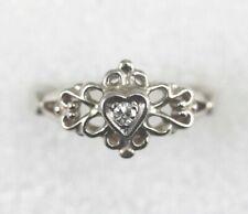14k Diamond Heart Ring Size 6 - Heavy White Gold - 3.8 Grams - April Birthstone