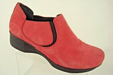 DANSKO Lynn Red Pink Nubuck Leather Slip On Loafer Walking Clog Shoes 36 5.5 6