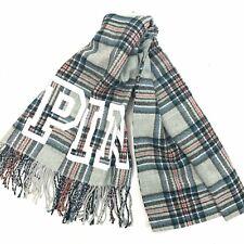 "88"" X 27"" VICTORIAS SECRET PINK Big Blanket Scarf Throw Plaid LOGO (Pick Color)"
