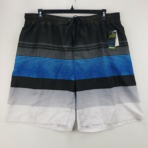 Burnside Men's Multicolor Striped Drawstring Back Pocket Swim Trunks Lined 2XL