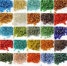 100g SILVER LINED GLASS SEED BEADS 11/0- 2mm 8/0- 3mm 6/0- 4mm 26 COLOUR CHOICE