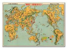 Large Vintage Japanese World MAP by Keizo Shimada of Japan circa 1933 24x36