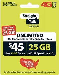 Straight Talk Refill Card 30 Day $45 Prepaid Unlimited Service Plan Phone