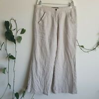 Reformation Linen High Waisted Pants US8 AU12 Pockets Beige High-Waisted Casual
