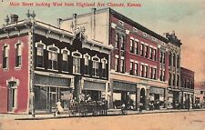 Tinted Postcard Main Street looking West from Highland in Chanute, Kansas~111279