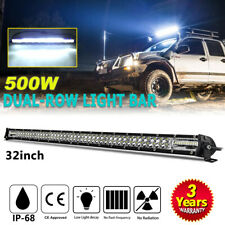 "32""inch 500W dual Row LED Light Bar spot flood for Jeep GMC ATV Truck 30"" 32"""