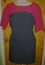 TU LONG FUSCHIA/NAVY STRETCH  SHIFT DRESS+ 3/4 LENGTH SLEEVES SIZE 18, WORN ONCE
