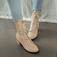 Ladies Retro Lace Up Side Zip Boots Mid Heel Pointy Toe Casual Fashion Shoe Sz45