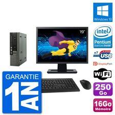 """Ultra Mini PC Dell 790 USFF Ecran 19"""" G640 RAM 16Go Disque 250Go Windows 10 Wifi"""