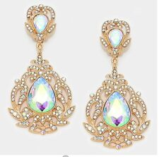 "3.5"" BiG Long Crystal Gold AB Clear Rhinestone Earrings Drag Queen CLIP ON"