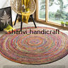 Reversible Round Braided Natural & Multi Colour Jute Cotton Rug Floor Decor Rags
