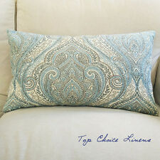 35cm x 60cm Home Decorative Grey/Egg Blue/Cream Damask Jacquard Cushion Cover