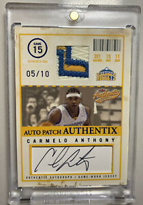 2004-05 Skybox Authentix Carmelo Anthony Game-Used Auto Autograph Patch /10