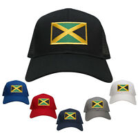 Jamaica Embroidered Gold Border Flag Iron On Patch Adjustable Mesh Trucker Cap
