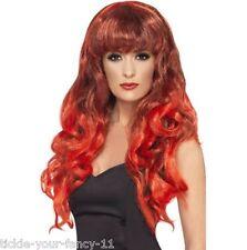 Women's Girls Red Siren Wigs 80's Glamour Fancy Dress Outfit Wig Wonder Woman