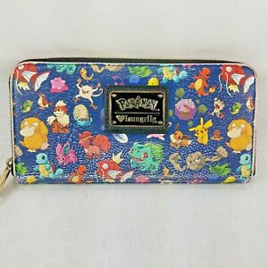 Loungefly Pokemon Wallet USED shows wear Blue Lounge Fly Zip Around