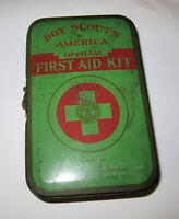 Vintage 1950's BSA Boy Scouts Metal First Aid Kit Belt Carry w Contents List