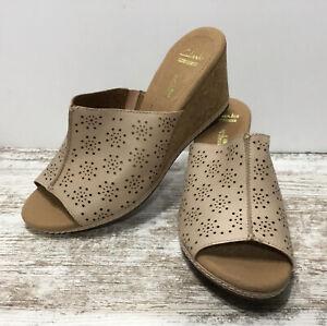 Clarks Collection Helio Corridor Cork Wedge Sandals-Open Toe-Beige Perforated 9M