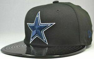 New Era 59Fifty Dallas Cowboys Cap Hat Men's Fitted 7 1/4 Black Solid Shiny Bill