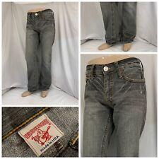 True Religion Jeans 38x33 Gray 100% Cotton Straight Made USA EUC YGI N0-210