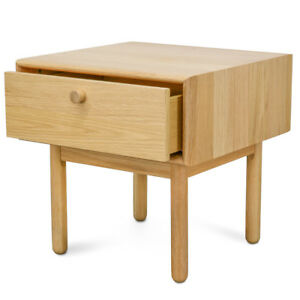 Natural Oak Timber Wood Occasional Table Bedroom Lamp Side Table with Drawer