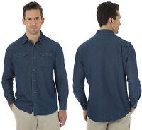 New Classic Mens Wrangler Authentic Shirt Denim Jean Vintage Blue