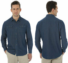 New Classic Mens Wrangler Authentic Shirt Denim Jean Vintage Blue