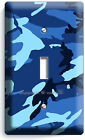 BLUE NAVY MILITARY CAMO CAMOUFLAGE SINGLE LIGHT SWITCH WALL PLATE MAN CAVE DECOR