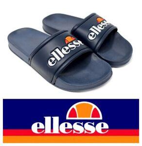 Men's Ellesse Retro Sliders Flip Flops Pool Shoes Beach Sandals Size 7,8 Navy