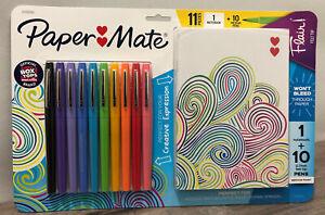 "Paper Mate Flair Felt Tip Medium Pens 10 Assorted Colors & 7""x5"" Notebook"
