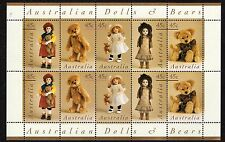 1997  45c AUSTRALIAN DOLLS AND BEARS MINT UNHINGED SHEETLET OF 10 STAMPS