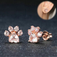 Girls Shiny Pink Stud Earrings Jewelry Cat Dog Paw Crystal Earring Piercing