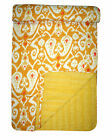 Indian Handmade Quilt Floral Hand Printed Bedspread Throw Yellow Twin Blanket