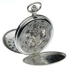 Jean Pierre Sterling Silver Double Hunter Skeleton Pocket Watch, ref G146