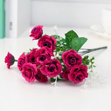 15 Heads Rose Artificial Flowers Fake Bouquet Bride Wedding Home Party Decor